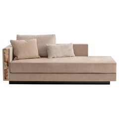 Zeus Chaise Longue in Nabuk Leather with Armrests in Corno Italiano, Mod 6088SXL