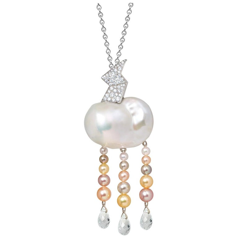 """""""Zeus"""" Convertible Diamonds and Pearls Brooch-Pendant For Sale"""