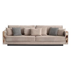 Zeus Sofa Upholstered in Nabuk Leather with Armrests in Horn, Mod. 6085L