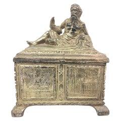 Zeus Statue Jewelry Trinket Box Metal, Antique German Souvenir, 1910s