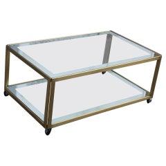 Zevi Furniture Table Coffee 1970 Italian Design Satin Brass Mirrored Glass