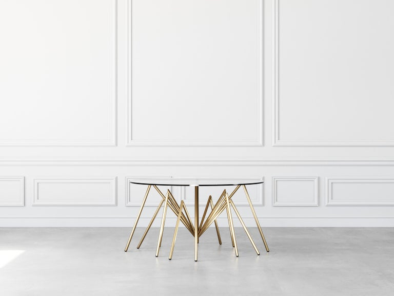 Zeville Ennox spider has it source in nature. It merges unconventional design with the highest demand for quality and high-end materials. A stylistically singular piece with a stand-out design. Gold-plated by Hand using traditionell methods. Hand