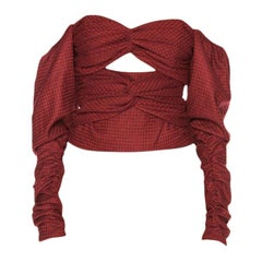 Zeynep Arcay Red Plaid Wool Bodysuit US 0-2