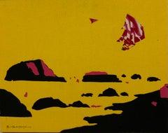 """Yellow landscape"" collage, fabric cm. 50 x 60 2016"