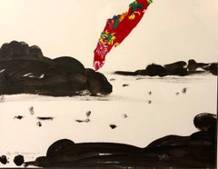 Landscape,Island,China,Black,White,   Acrilic and tissue 47 x 40  2014