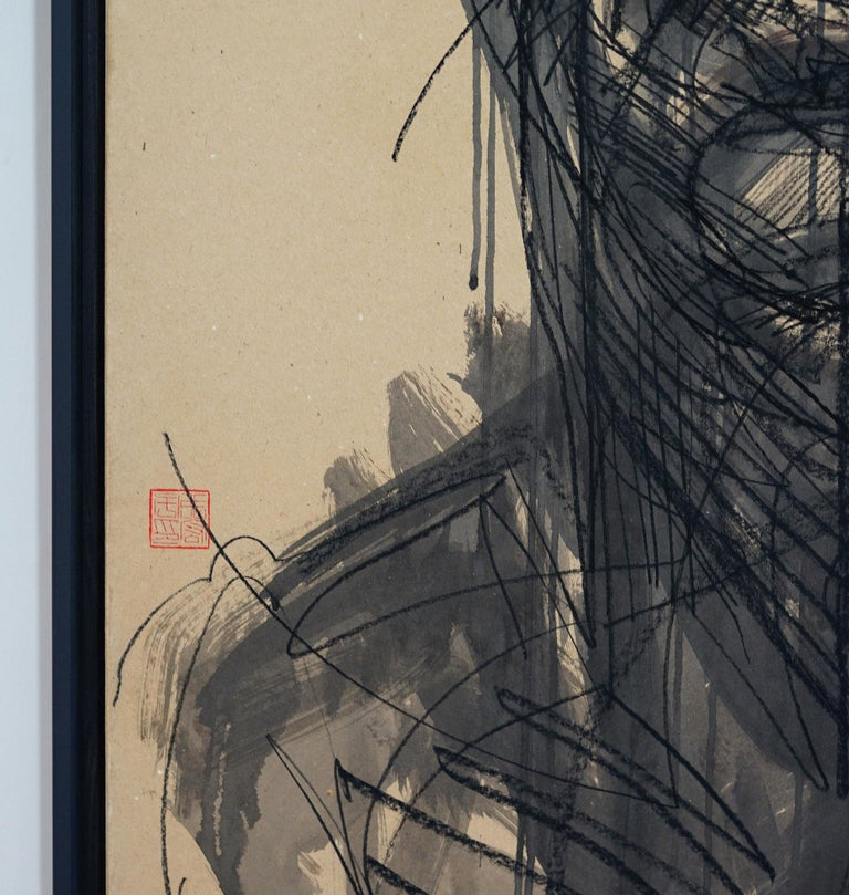"""No.105, painting by Paris-based Chinese contemporary artist ZHANG Hongyu from the """"Portrait"""" series.  Indian ink and charcoal on kraft paper mounted on canvas, 120 x 65 cm. Artwork sold framed. Zhang's painting takes root in calligraphy and Chinese"""
