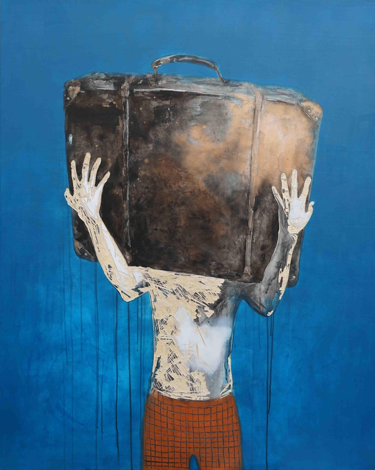 Untitled 4 (2019) is a painting by Chinese contemporary artist Zhang Hongyu. Ink, acrylic, pastel and engraving on wood. 162 cm x 130 cm. The blue background shows traces of dripping, and the character's body is eroded by the engraving. His face is