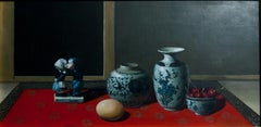 Ceramics, Cherries and Egg - Original Oil on Canvas by Zhang Wei Guang - 2000s