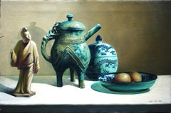 Chinese Antiques on the Table - Original Oil on Canvas by Zhang Wei Guang - 2000