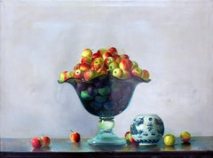 Crystal Vase with apples - Original Oil on Canvas - 2001