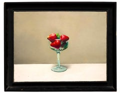 Cup with Strawberries - Oil on Canvas by Zhang Wei Guang (Mirror) - 2000