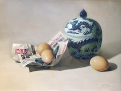 Fresh News/Eggs and Ceramics - Original Oil on Canvas by Zhang Wei Guang - 2007