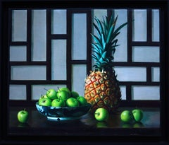 Pineapple and Apples - Original Oil on Canvas by Zhang Wei Guang - 2001
