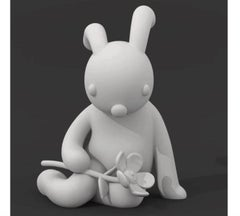 A Little Shy White Color Rabbit with Flower Fiberglass Out Door Life Size