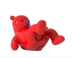 Enjoy my Time! Red Bear Life Size Sculpture Trendy Art