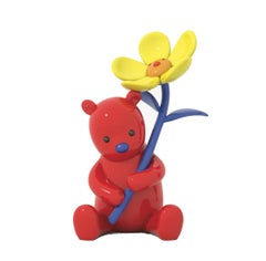 Red Bear with A Yellow Flower Art Deco Sculpture Out Door