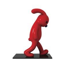 Walking Rabbit Red Life Size Out Door Sculpture Art Deco