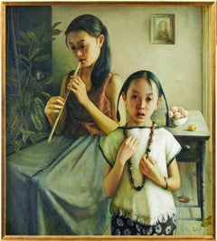 """Zhao Kailin Original Oil Painting """"Interior with Two Girls''"""
