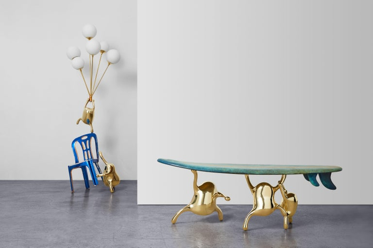 Zhipeng Tan, Brass Floor Lamp, 'Up,' TanTan Collection In New Condition For Sale In Beverly Hills, CA