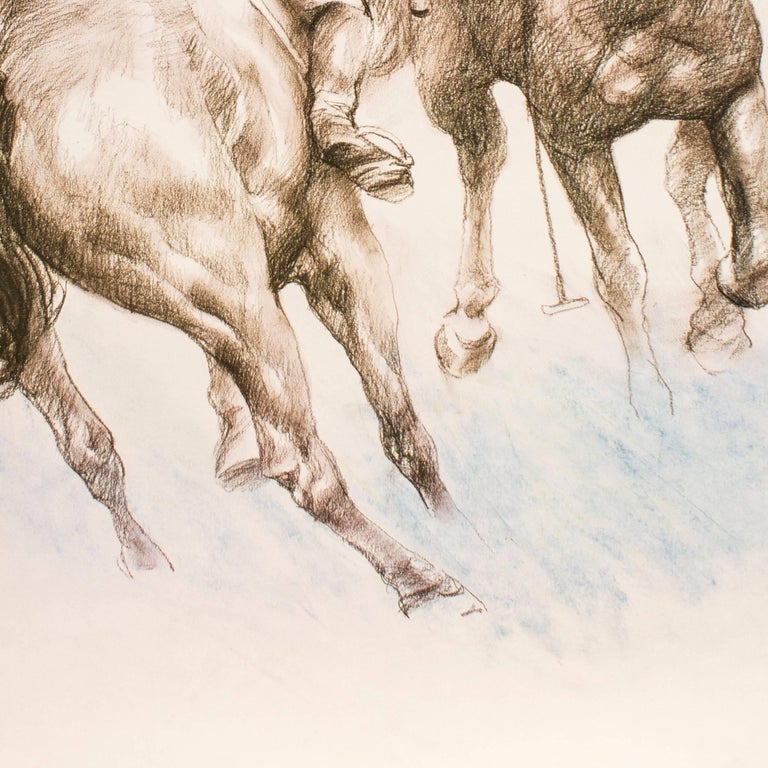 Equestrian - Original Lithograph by Zho Zhiwei - 2008 - Beige Animal Print by Zhou Zhiwei