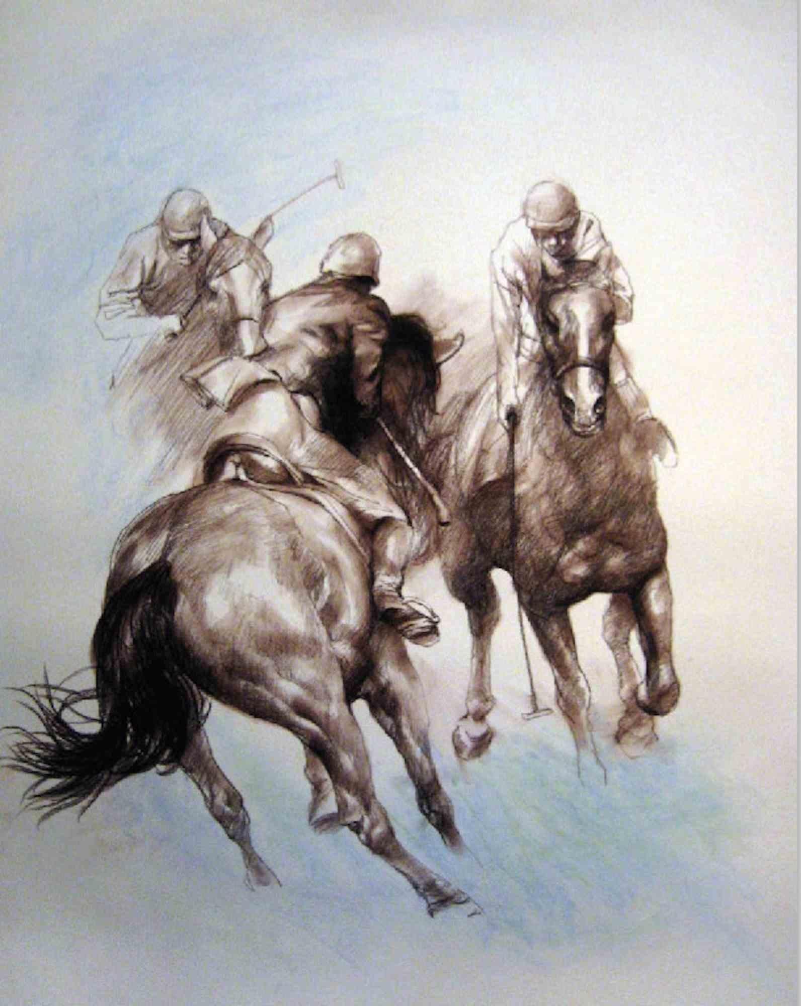 Equestrian - Original Lithograph by Zho Zhiwei - 2008