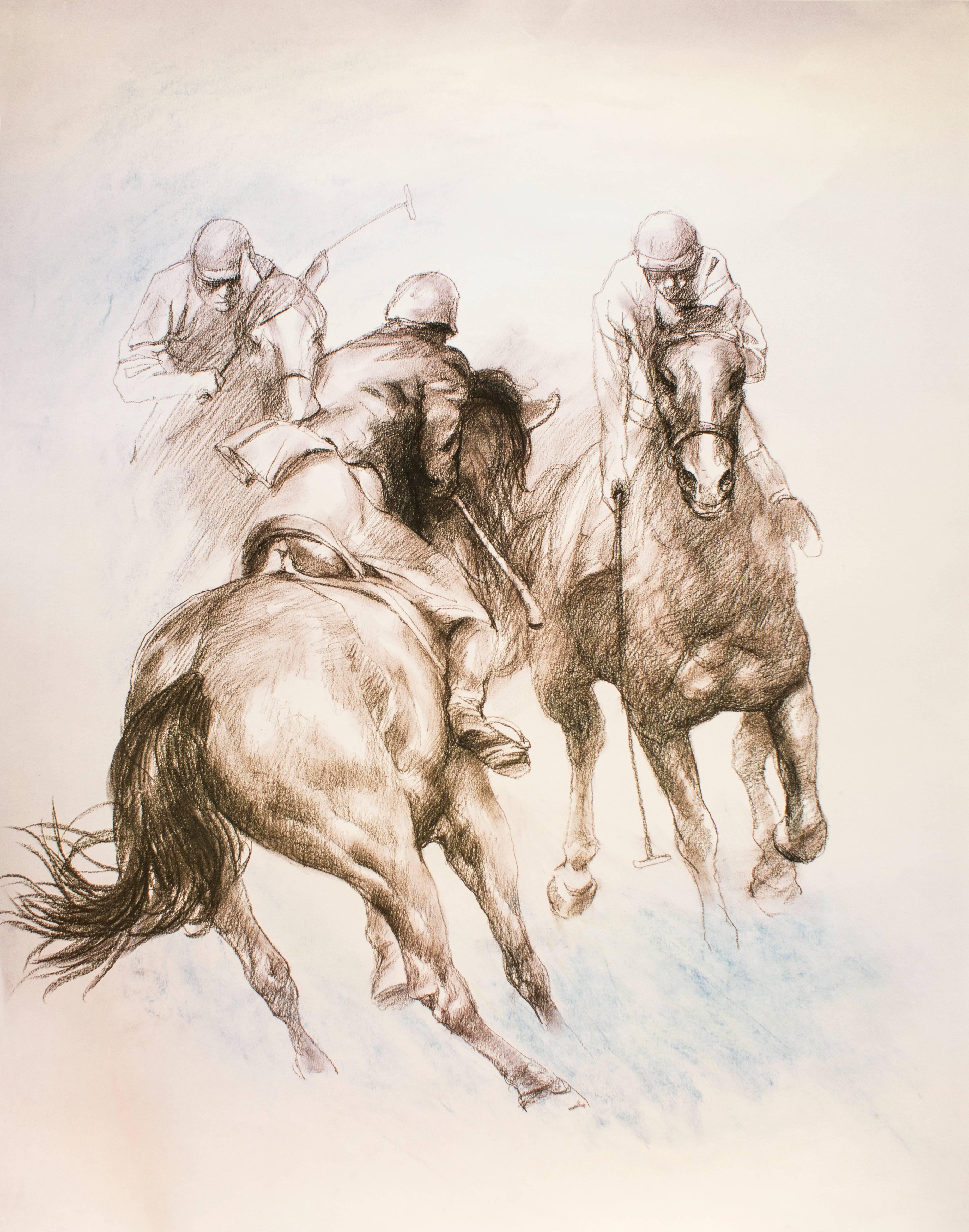 Equestrian - Original Lithograph by Zhou Zhiwei - 2008