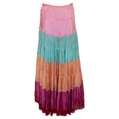 Ziba Moda Italy Multi Colour  Silk Skirt