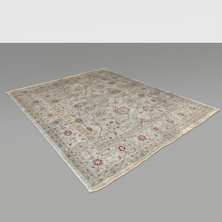 Ziegler Pakistan Large Rug Stone Washed, Wool Hand Knotted Grey Red, circa 2000 For Sale 13