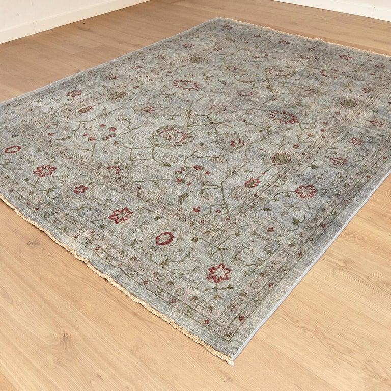 Anglo-Indian Ziegler Pakistan Large Rug Stone Washed, Wool Hand Knotted Grey Red, circa 2000 For Sale