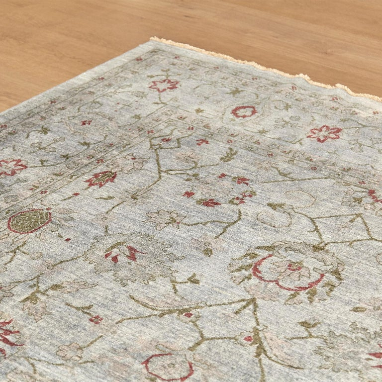 Hand-Knotted Ziegler Pakistan Large Rug Stone Washed, Wool Hand Knotted Grey Red, circa 2000 For Sale