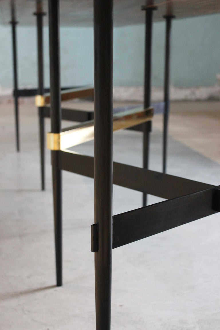 Zig Zag Black Charcoal Oiled Walnut and Brass Table by ATRA In New Condition For Sale In San Francisco, CA