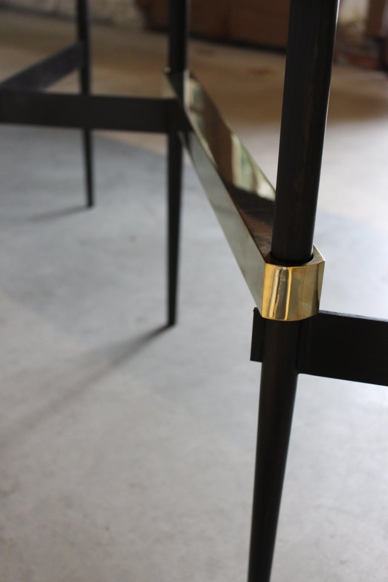 Zig Zag Black Charcoal Oiled Walnut and Brass Table by ATRA For Sale 2