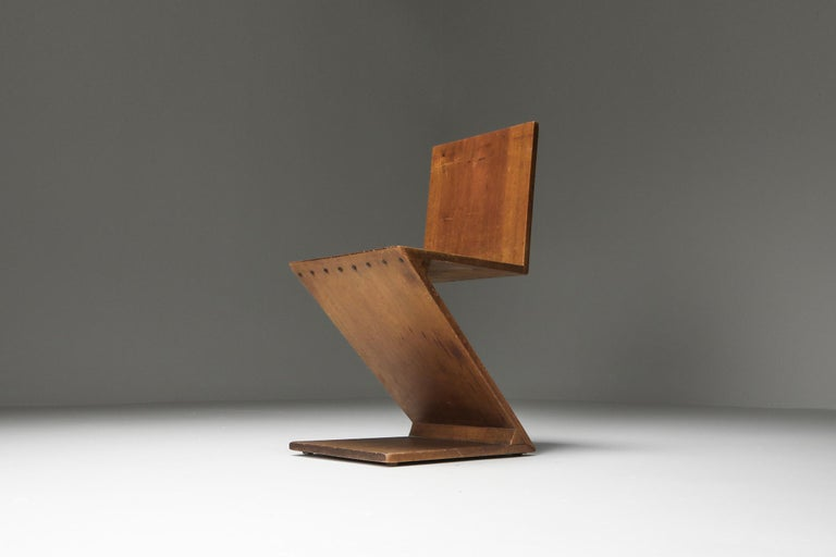 Zig-Zag Chair by G. Rietveld In Good Condition For Sale In Antwerp, BE