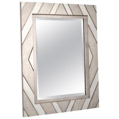 Zig Zag Mirror in Cream/White Shagreen Shell & Bronze-Patina Brass by Kifu Paris