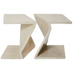 Zig Zag Side Tables or Coffee Table in Tessellated White Stone, 1990s