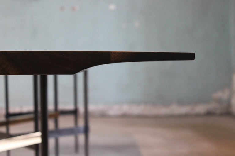 Contemporary Zig Zag Walnut and Brass Table by ATRA For Sale
