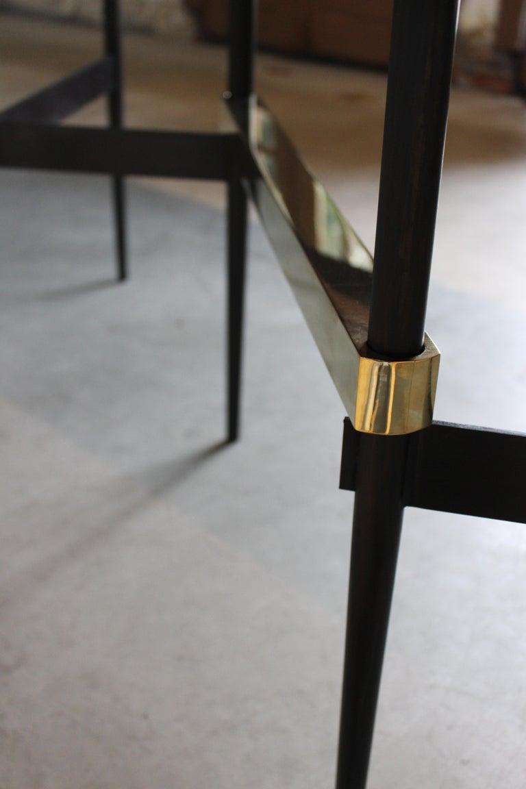 Zig Zag Walnut and Brass Table by ATRA For Sale 1