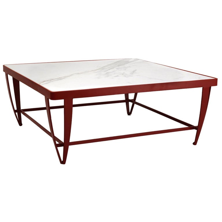 Zig Zag Wrought Iron and Marble Low Table For Sale