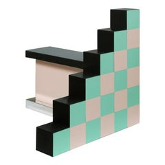 """""""Ziggurat 1."""" by Russell Bamber, 2018, Turquoise, Rose and Colored Laminate"""