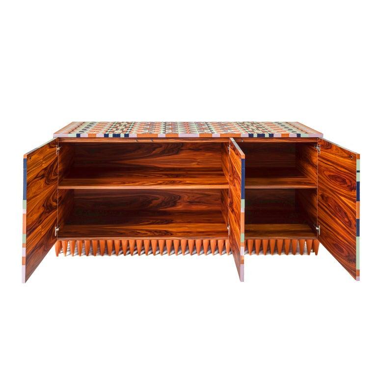 Brazilian Ziggy credenza   Contemporary Concept of Handmade Marquetry For Sale