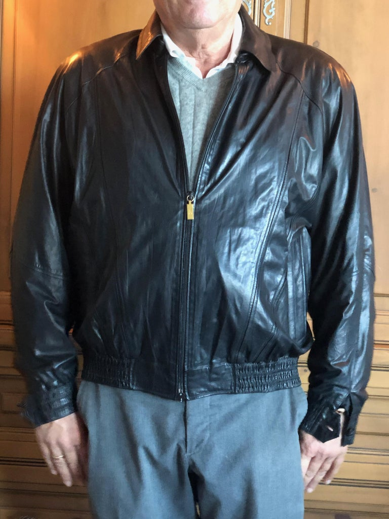 Zilli France for Harrods London Scarf Silk Lined Lambskin Zip Front Jacket For Sale 6