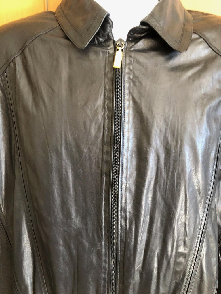 Zilli France for Harrods London Scarf Silk Lined Lambskin Zip Front Jacket For Sale 2