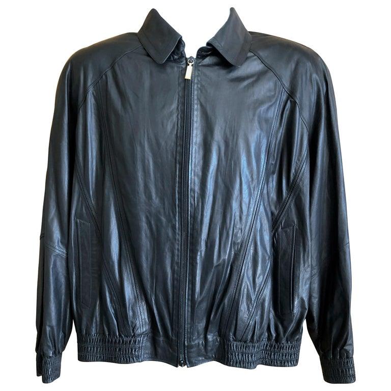 Zilli France for Harrods London Scarf Silk Lined Lambskin Zip Front Jacket For Sale