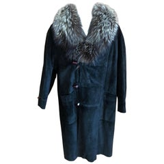 Zilli France Fur Lined Black Suede Toggle Coat with Wide Fox Collar