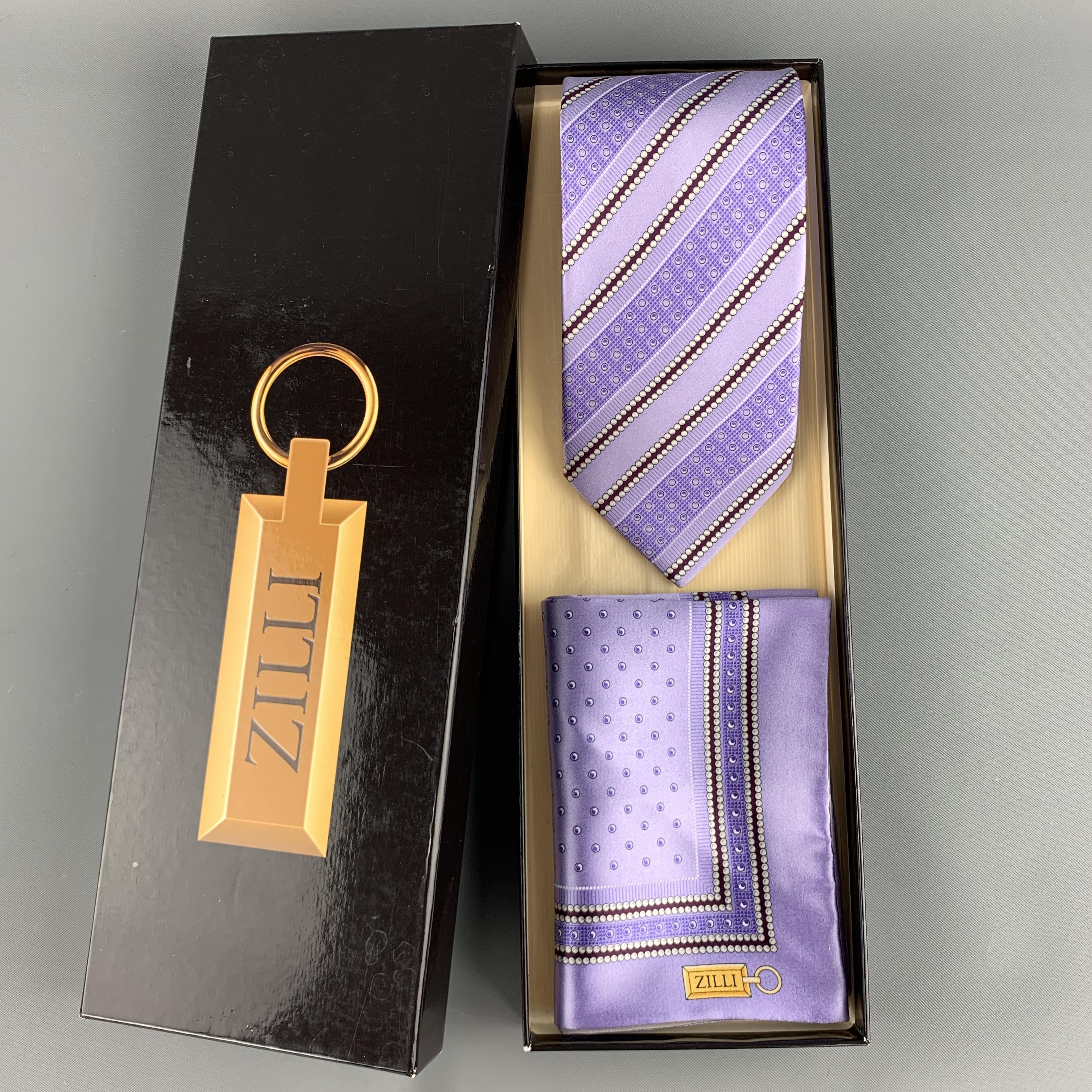 Purple Diagonal Stripes Tie with Pocket Square