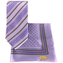 ZILLI Lavender Diagonal Stripe Print Silk Tie Pocket Square Set in Box