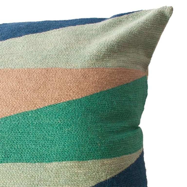 Indian Zimbabwe Landscape Spring Hand Embroidered Modern Geometric Throw Pillow Cover For Sale
