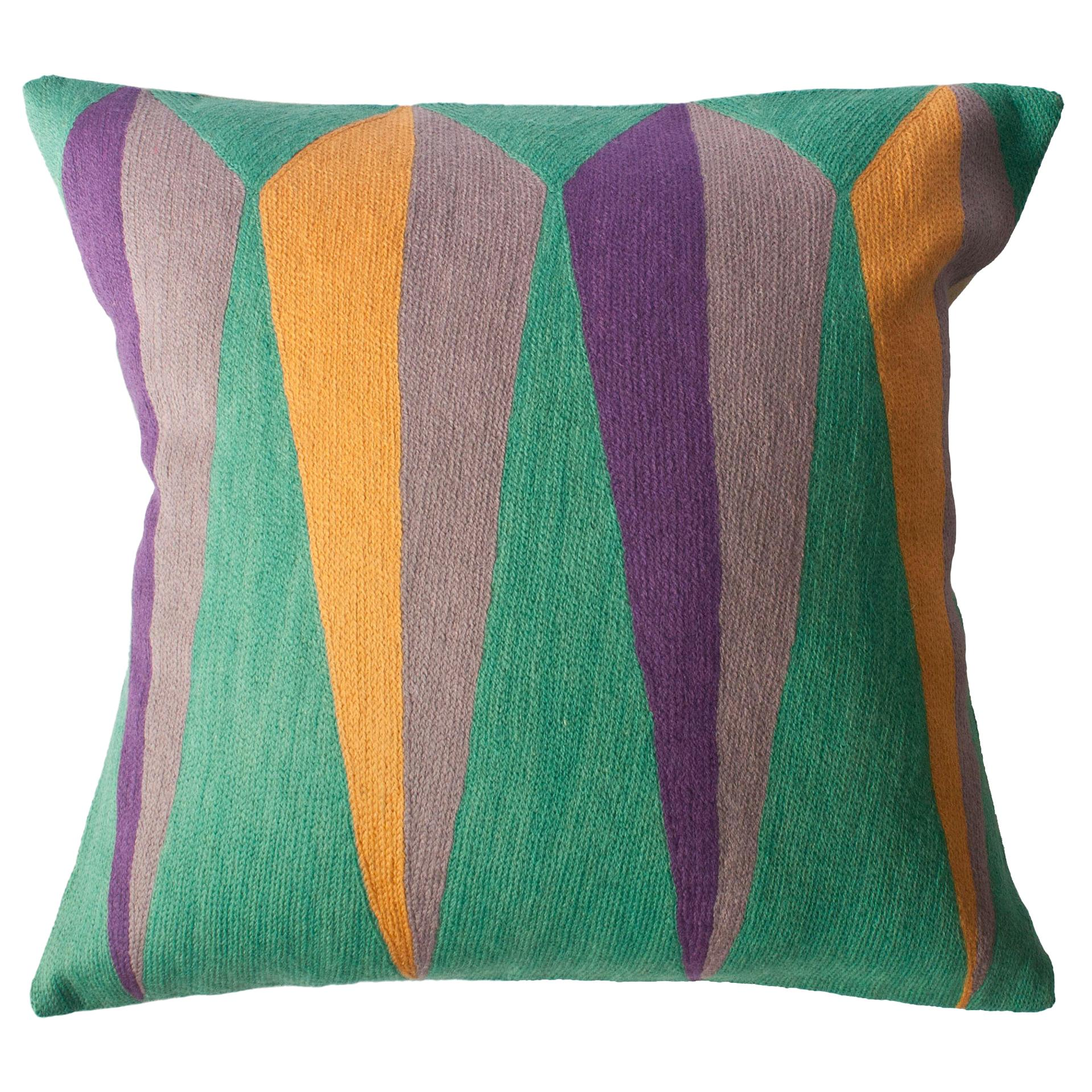 Zimbabwe Root Summer Hand Embroidered Modern Geometric Throw Pillow Cover