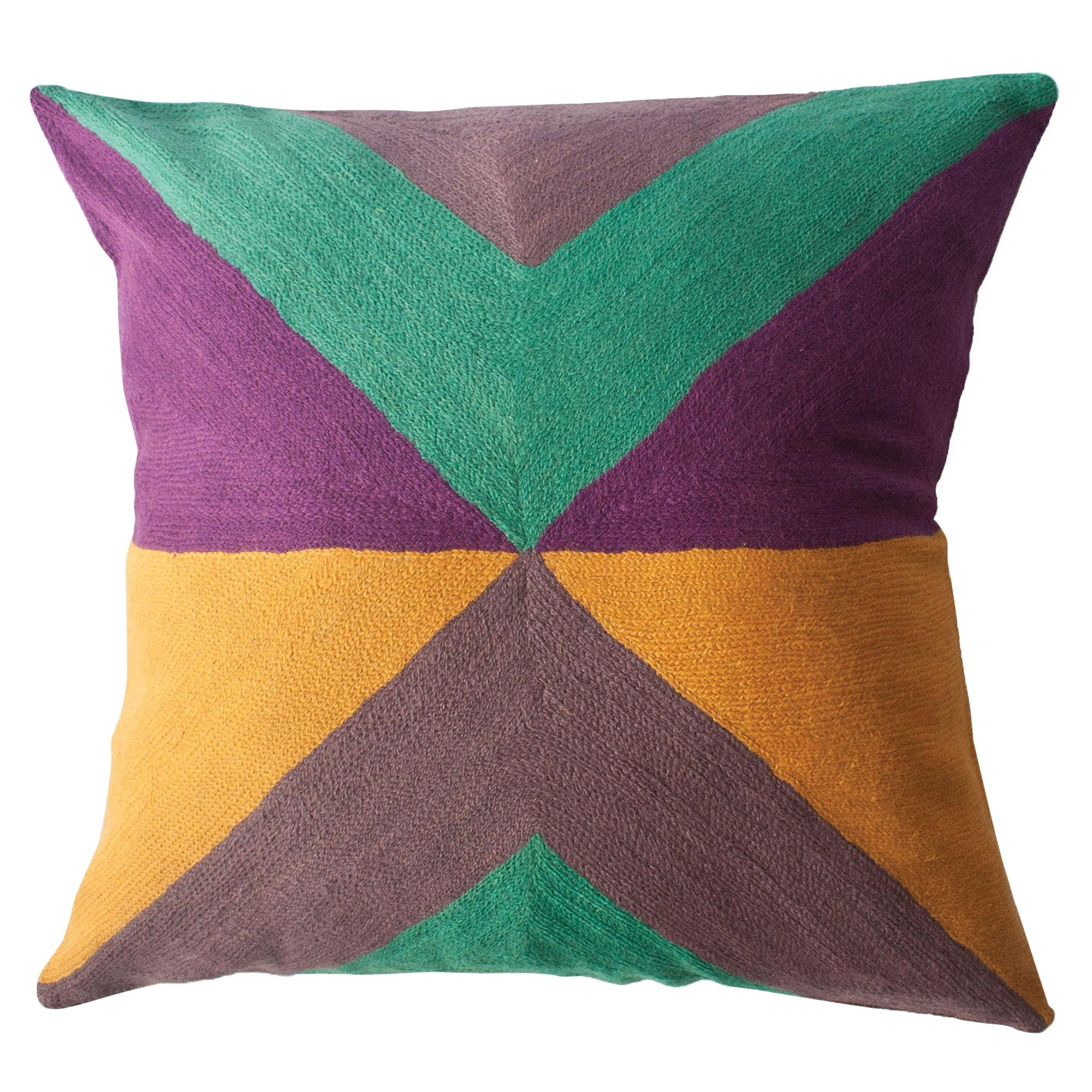 Zimbabwe West Summer Hand Embroidered Modern Geometric Throw Pillow Cover