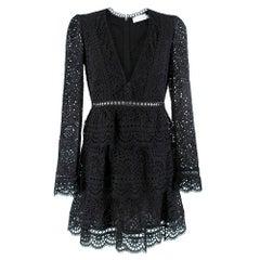 Zimmerman Black Lace Embroidered Mini Dress SIZE 1